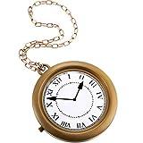 Halloweeen Gold Clock Necklace White Rabbit...