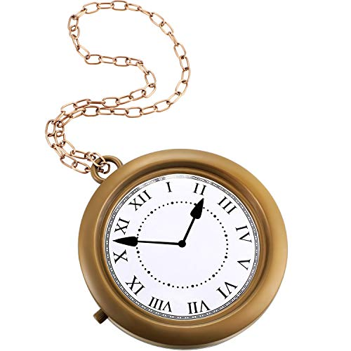 Gold Clock Necklace White Rabbit Clock Hip Hop Rapper Clock Oversized Non-Functioning Rabbit Costume Pendant for Women Men