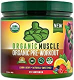 Organic Muscle Pre Workout Powder | USDA Certified Organic | for Energy, Focus & Endurance | Lemon Berry | 20 Servings