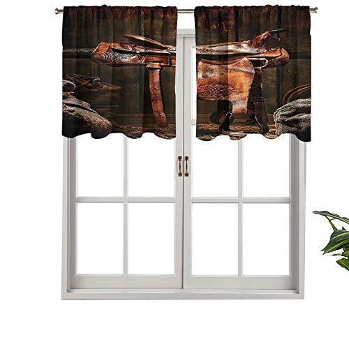 Hiiiman Rodeo - Cenefa de cortina corta con bolsillo para barra, de piel vaquera, con viga de madera, 106,7 x 45,7 cm para baño y cocina