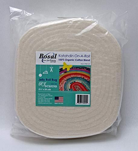 "Batting - Bosal Katahdin On-A-Roll 2.5"" Wide Pre-Cut Lightweight Jelly Roll Rug Batting 100% Organic Cotton Blend - Sold by The 25 Yard Roll M224.05"