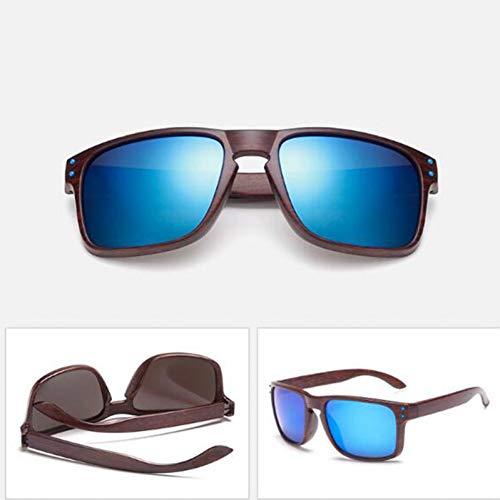 YIERJIU Gafas de Sol Gafas de Sol de imitación de Madera de Grano para Mujer/Hombre Gafas de diseñador de Marca Gafas de Madera únicas para Gafas Gafas de Sol Reflectantes,D