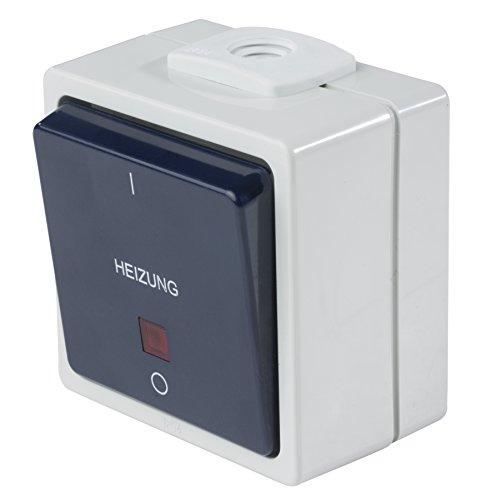 as Schwabe 62454 - Interruptor (luminado, con 2 prensaestopas, IP 54, para Exteriores), Color Gris