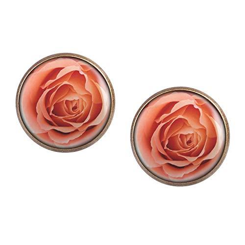 Mylery Ohrstecker Paar mit Motiv Rosen-Blüte Rose Blätter Blume Rosa bronze 16mm