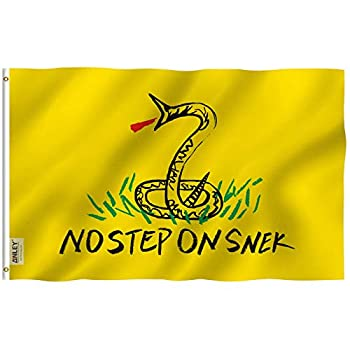 Anley Fly Breeze 3x5 Foot No Step On Snek Flag - Vivid Color and Fade Proof - Canvas Header and Double Stitched - Tea Party Flags Polyester with Brass Grommets 3 X 5 Ft
