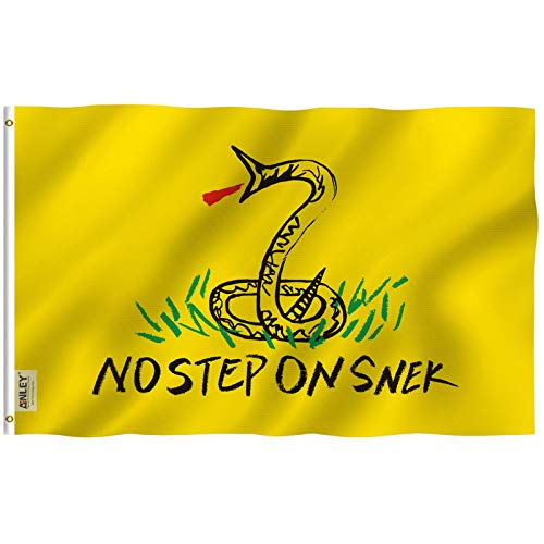 Anley Fly Breeze 3x5 Foot No Step On Snek Flag - Vivid Color and UV Fade Resistant - Canvas Header and Double Stitched - Tea Party Flags Polyester with Brass Grommets 3 X 5 Ft
