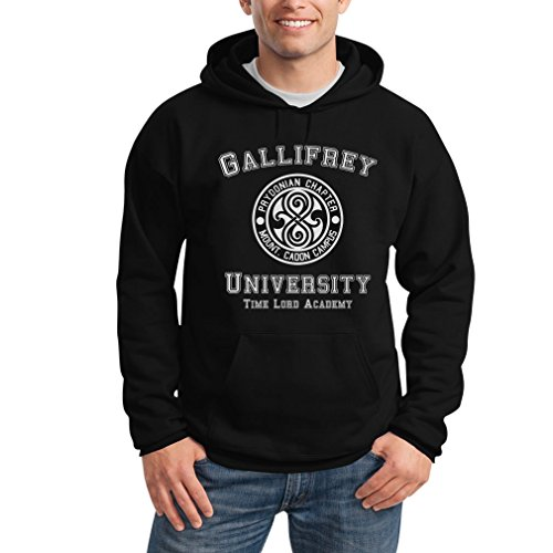 Shirtgeil Gallifrey University Schwarz Large Kapuzenpullover Hoodie - Doctor Time Academy Who