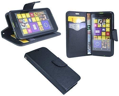 ENERGMiX Buchtasche kompatibel mit Nokia Lumia 630/635 Hülle Case Tasche Wallet BookStyle mit Standfunktion in Schwarz