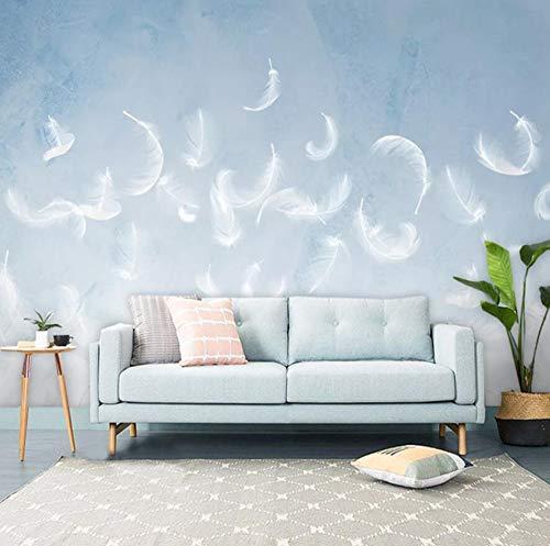 Nordic handbeschilderde balpen blauw cool slaapkamer bank bed TV achtergrond muur 250*175