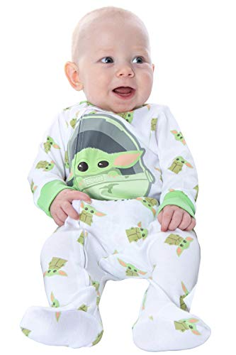 Star Wars Toddler and Infant The Mandalorian Baby Yoda Cutest in The Galaxy Onesie Pajama Sleeper Outfit (6-9 Month) White