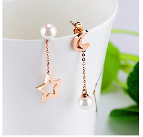 Nobranded Star Moon Pearl Aretes asimétricos Pendientes de Acero Inoxidable de Titanio con Incrustaciones de Perlas de Oro Rosa Regalo de joyería para Mujer