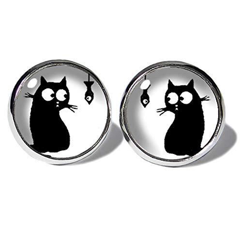 Comic Cat Katzen Ohrstecker ABOUKI Damen Mädchen Kind Kinder Edelstahl Ohrschmuck Motiv schwarze Katze Kätzchen handgefertigte Ohrringe silber-farben