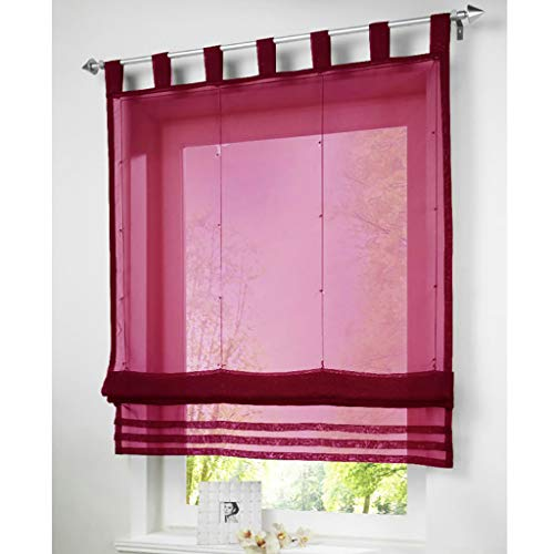 SIMPVALE Raffrollo mit Schlaufen Gardinen Voile römischen Liter Fall Schatten Transparent Vorhang für Balkon und Küche (Breite 100cm/Höhe 155cm, Weinrot)