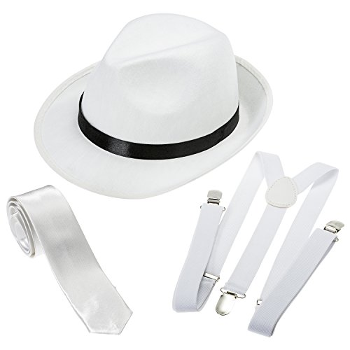 NJ Novelty Gangster Costume Hat Suspenders and Tie Set (White Hat, White Suspenders & White Tie)One Size