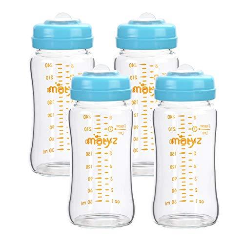 Matyz Glass Breastmilk Storage Bottles, 4 Pack, 8 oz, Sturdy Glass Bottle for Milk Freezing and Baby Feeding - Large Pumping Bottle for Philips Medela Spectra Breast Pumps - BPA Free (Blue Lids)