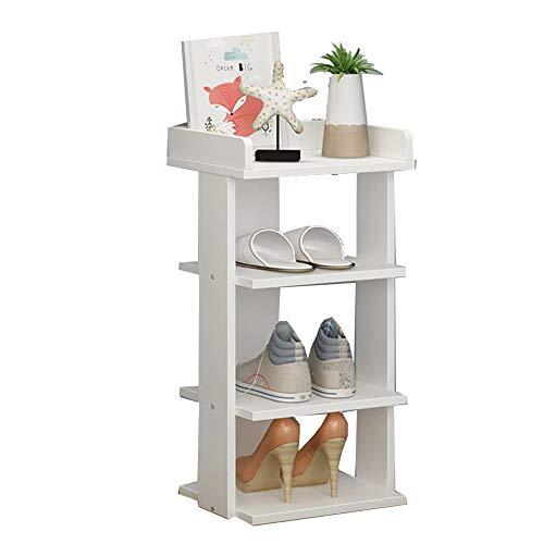 LM-Shoe Racks Zapateros Armario Zapatero, Multicapa Mini Zapatero de Esquina, Estante Simplicidad Moderna Esquina/Pasillo/Dormitorio,Blanco,4layers