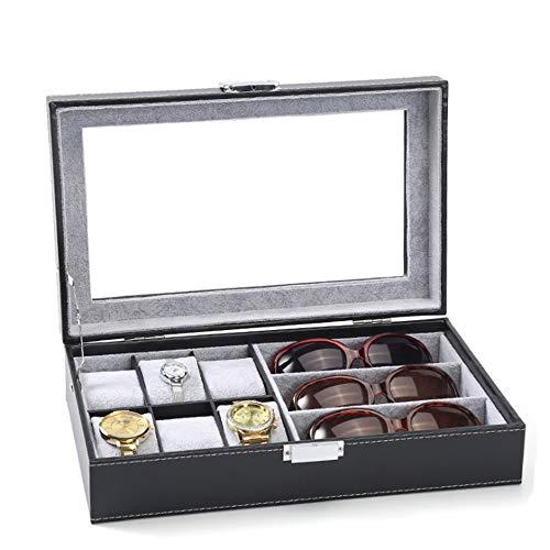 ZHBD Caja de Reloj Reloj de la Caja de almacenaje de los vidrios Pantalla el Cuadro de Acabado Cuadro de Doble Uso Europeo de joyería Caja de empaquetado para la exhibición del Reloj y almacenamien