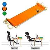 Amazy XXL Fuß Hängematte für breite Tische bis 2,00 m – Höhenverstellbare und extra breite Fußstütze zur Entspannung und Entlastung am Schreibtisch und im Büro (Orange)