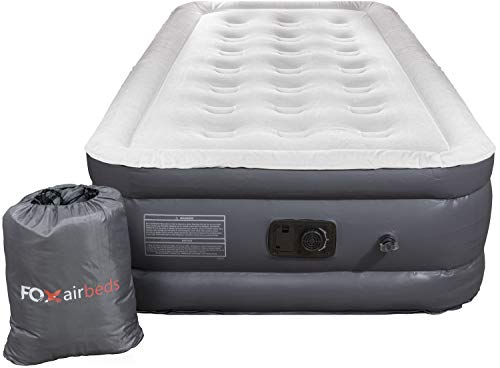"""Fox Air Beds - Air Mattress with Built-in Pump Size for Guests, Inflatable Double High Elevated Air Bed with Comfortable Top, Raised 18"""" Real Air Mattress as Camping Airbed Twin"""