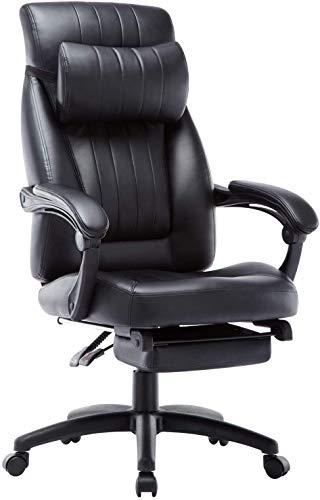 Presidente de respaldo alto cargo ejecutivo con reposabrazos y respaldo de cuero negro cómodo escritorio de la computadora silla, sillón reclinable silla de oficina con otomana,Black
