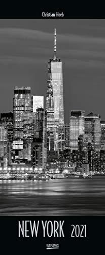 New York 2021: Wandkalender in schwarz-weiß. Foto-Kunstkalender der Architektur in NY. PhotoArt Vertikal Kalender mit Silberdruck. 28,5 x 69 cm.