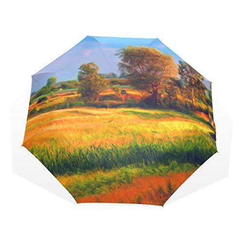 Paraguas Paisaje Árboles cultivados en Sunny 3 pliegues Ligero Anti-UV