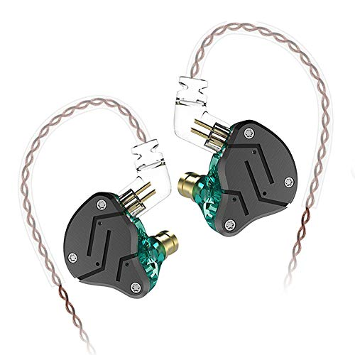 KZ ZSN Earphone with 1BA and 1DD, KZ High Fidelity in Ear Earbuds High Resolution in Ear Monitor Headphone 0.75mm 2 pin Cable, Noise Cancelling KZ Headphone (Cyan, NO Mic)