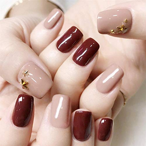 rpbll 24pcs Bean Paste Color Decor Flower Full Cover Wedding Bride Full Nails Tips Artificial Nails Art Patches With Glue For Girls-style11