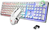 FELiCON Rechargeable Gaming Wireless Keyboard and Mouse Set Rainbow RGB LED Backlit Suspended Keycap Mechanical Feel 4800mAh Large Capacity Lithium Battery for Mac PC Laptop Computer Game Work Office