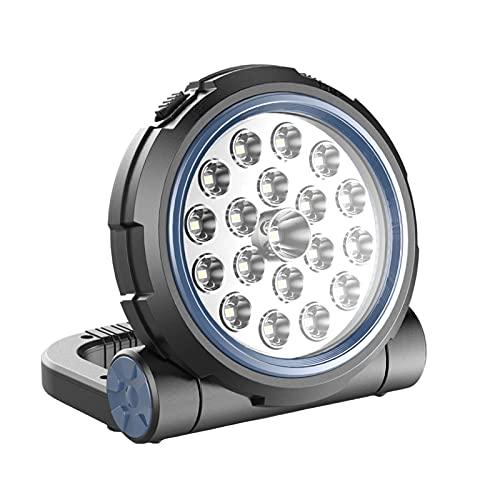 QIANG Foco LED Recargable,Luz Portatil Bateria con 3 Modos De Luces para Acampar Al Aire Libre con USB A Prueba De Agua para Garaje, Pesca, Senderismo,Blue