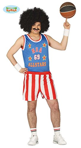 Cooler Basketball Spieler Karneval Fasching Party Kostüm Herren blau rot Gr. M - L, Größe:M