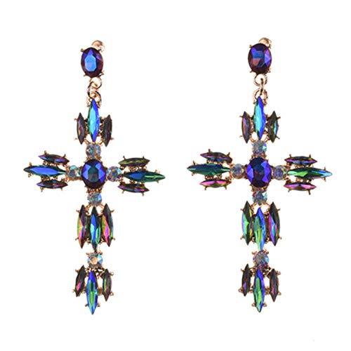SALAN Crystal Cross Pendientes Mujeres Grandes Declaraciones Grandes Pendientes Barrocos Rhinestone Indio Pendientes Largos Pendientes Joyería