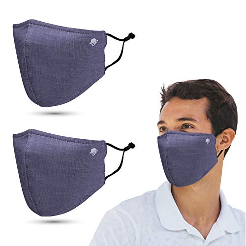 airDefender Reusable Protective Face Masks - Breathable 3 Layer with Nose Wire Filter Pocket Washable Face Mask for Men and Women  2 Pack ( Black Grey)