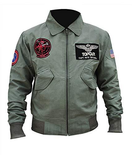 Blouson d'aviateur pour homme MA 1 en coton olive léger pour Top Gun Maverick 2020 Cosplay - Vert - X-Large