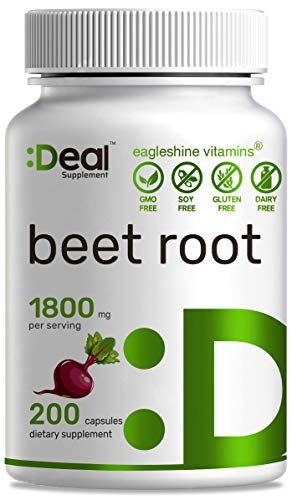 Beet Root Capsules - 1800mg Per Serving, 200 Counts, Made with Pure Beet Root Powder, Nitric Oxide Booster, Support Blood Pressure and Promote Energy