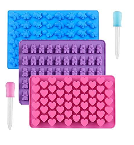 OOK Juego de 3 moldes de silicona para chocolate, reutilizables, para caramelos, cubitos de hielo con 2 gotas, incluye ositos de gominola, corazón, dinosaurio y silicona antiadherente