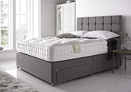 Grey Linen Look Divan Bed With 2 drawers-Mattress-Headboard-3ft,4ft,4ft6,5ft,6ft (4ft6 Double)