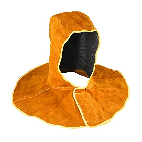 QWORK Leather Welding Hood, Welder Cover Cap for Welding, Blacksmithing