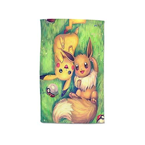 Large Puzzle Juego de toallas de baño Pokemon Pikachu de algodón egipcio de alta calidad, ultra absorbentes, de secado rápido y tacto súper suave, adecuadas para el hogar, hoteles y spa, 80 x 130 cm