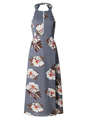ZESICA Women's Halter Neck Floral Print Backless Split Beach Party Maxi Dress,Grey,Small