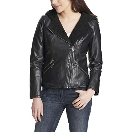 Sherpa Lined Hooded Moto Jacket (Standard and Plus Sizes)