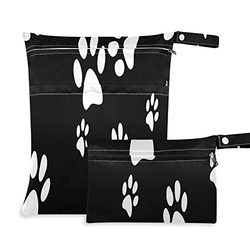 WYYWCY Animal Dog Puppy Paw Print Bolsas de Almacenamiento de Ropa Negras Dos Bolsillos 11.8 × 14.2 Pulgadas...