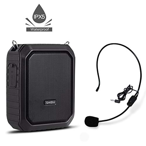 Voice Amplifier with Headset Portable Microphone and Speaker Waterproof IPX5 Rechargeable PA System for Outdoors, Water Aerobics, Teaching, Speech, Presenting, etc