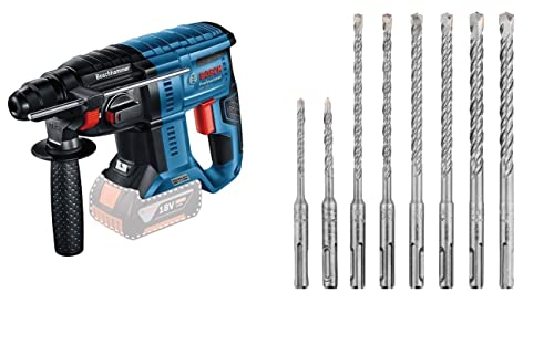 Bosch Professional GBH 18V-21-Martillo perforador Combinado (18V, 2,0 J, Ø máx. hormigón 21 mm, SDS Plus, sin batería, en Caja) + Set De 8 Brocas Para Martillo Sds Plus (Para Hormigón)