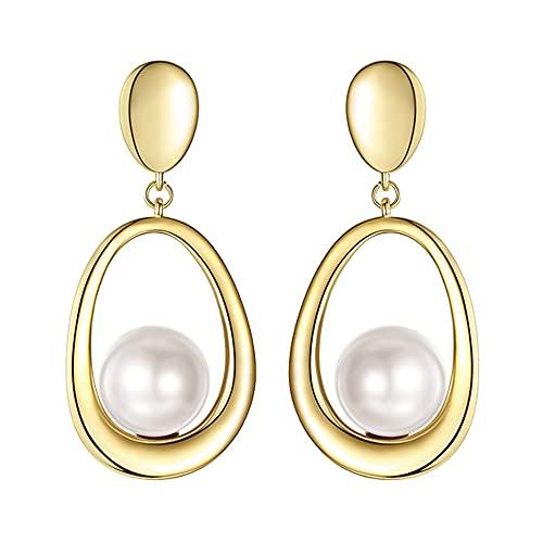 AZPINGPAN Pendiente para Mujer, Pendientes de Moda Simples tridimensionales de Perlas Vintage Europeas, Pendientes hipoalergénicos de Plata de Ley 925 Exquisita joyería de Regalo