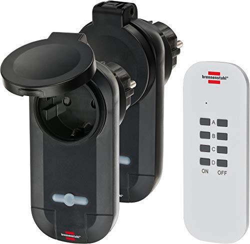 Brennenstuhl Funkschalt-Set RC CE1 0201, 2er Funksteckdosen Set (Außenbereich IP44, mit Handsender und erhöhtem Berührungsschutz) schwarz