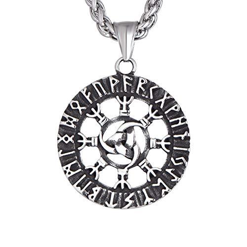 FJ Norse Vikings Anhänger Triple Horn von Odin mit nordischen skandinavischen Rune Valknut Rune Amulett Schmuck