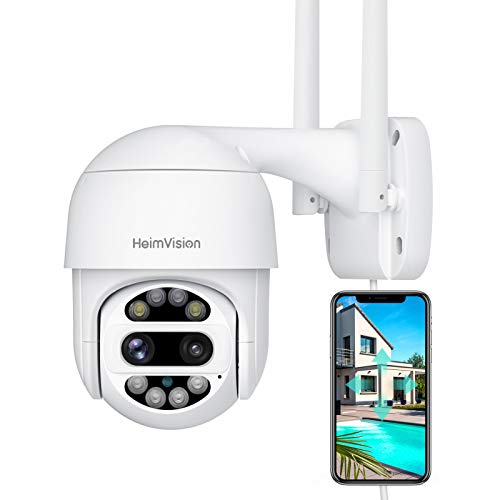 HeimVision PTZ Security Camera Outdoor, 2x2MP Ultra HD Dual Lens, Pan/Tilt/12X Zoom, 360° View, Wi-Fi Camera with Floodlights, Color Night Vision, Weatherproof
