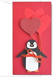 Amore - pinguino - festa degli innamorati - palloncini - biglietto d'auguri (formato 21 x 11 cm) - vuoto all'interno, idea...