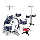 Lwieui Batería para Niños Niños Electroplate Jazz Drum Set Percussion Instruments Drum Kit Juguetes con Taburete para Niños Pequeños (Color : 1, Size : 80 x 43 x 60cm)